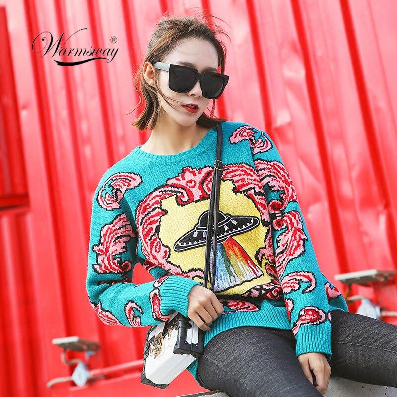Las mujeres nuevo vintage suéteres calientes OVNI nubes Jacquard suéteres de otoño invierno de punto retro suelto tops blusas C-012