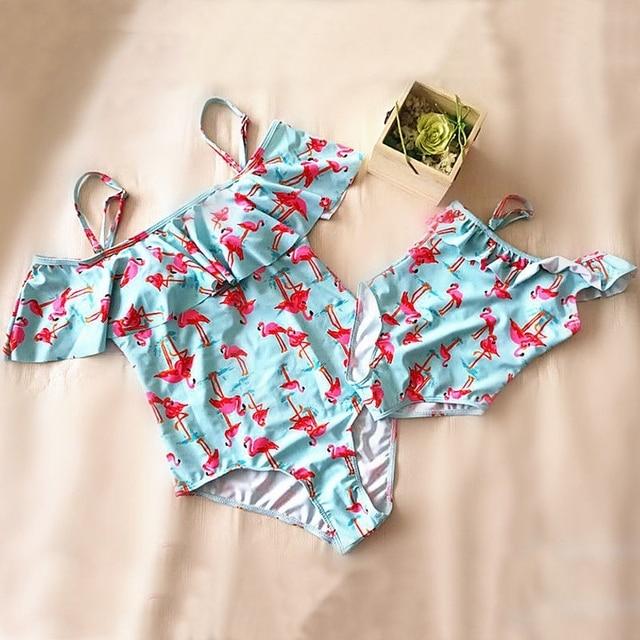 women summer holiday bikini set swimsuit flamingo print