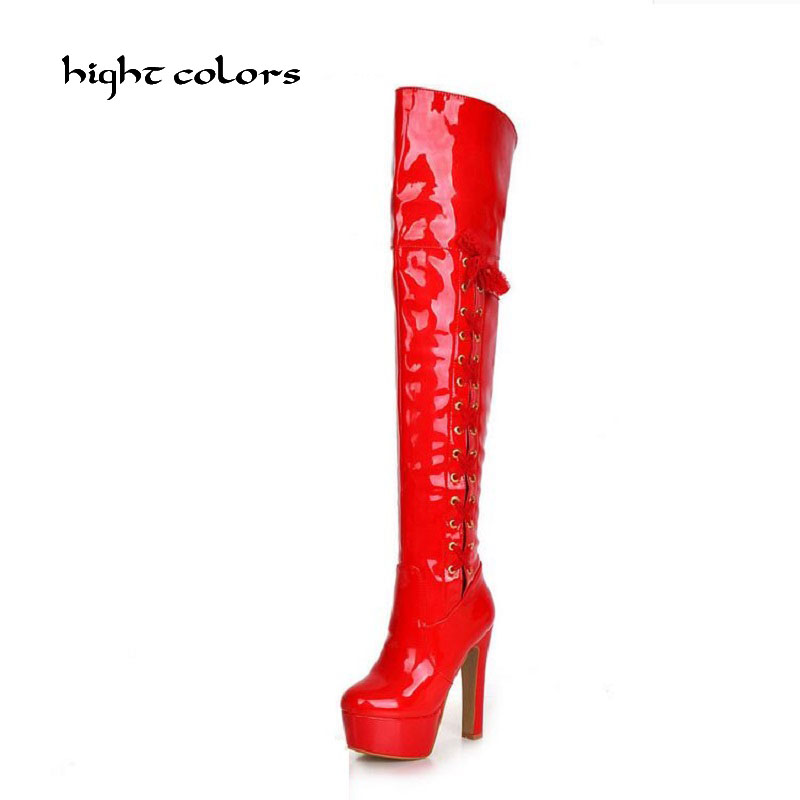 Plus Size 34-43 Women Boot Patent Leather Over the Knee Boots for Women Black Red Sexy High Heels Long Dancing Shoes DXM777 women long boots stretch pu red black patent leather over the knee high sexy ladies party high heels platform shoes page 2