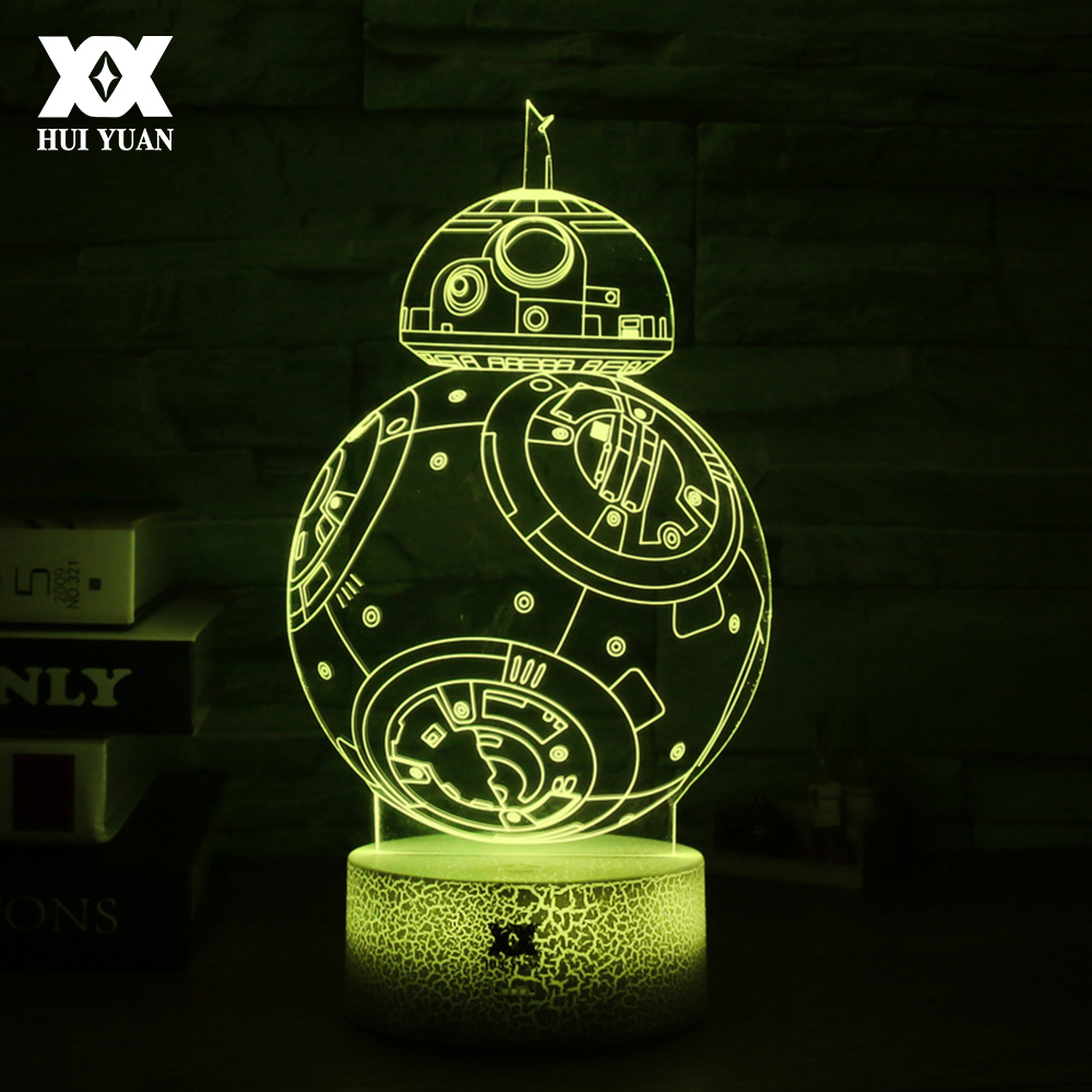 Star Wars BB-8 3D Lamp LED Novelty Visual Night Lights 7 Colors Glowing Base Creative USB Decorative Table Lamp Child Gift
