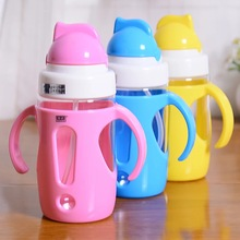 Eco-friendly Baby Water Bottle 350ml Mini Bottle With Straw Children/Kids Kettle Drinkware PP Food Grade ABS 2016(China)