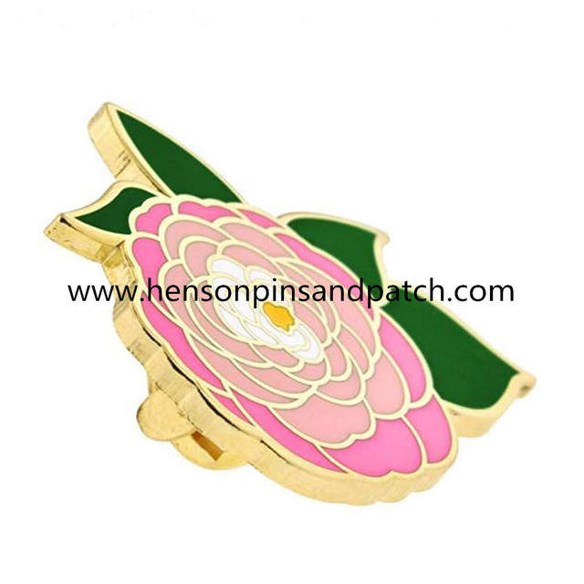 1769d2353bf Customized Pink Peony Flower Boutonniere Trendy Enamel Lapel Pin ,1Inck  Metal Hard Enamel pin badges ,Plated Gold