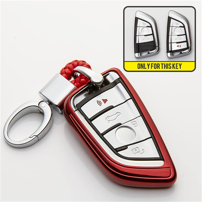 Qianyi Car Key Cover for BMW Full Protection Soft TPU Genuine Leather Feel Key Case Cover Fit for BMW New BMW X3 X4 M5 M6 GT3 GT5,BMW Series 1 2 5 7 Keyless Entry Key Cover Silver