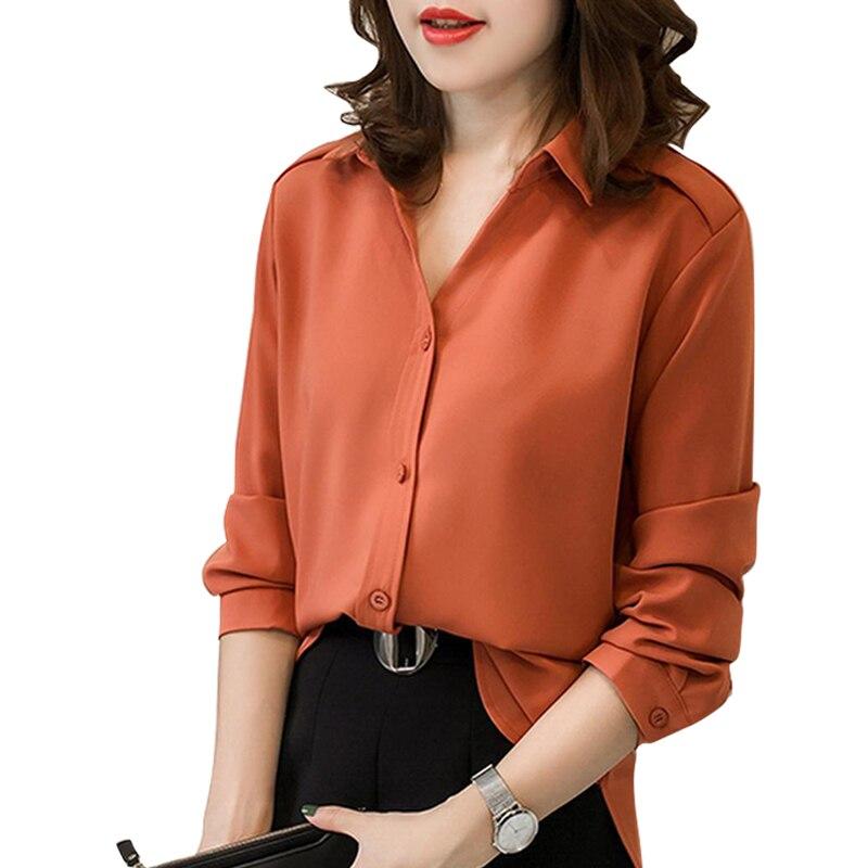 Fashion   Blouse   Tops Womens Female Elegant Long Sleeve Green Orange   Blouse     Shirt   Casual Streetwear Plus Size   Blouse