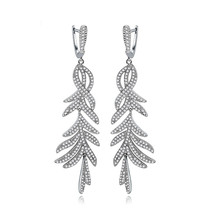 цены Luxury Elegant Long Drop Earrings for Women Micro Paved Tiny CZ Crystal Dangle Jewelry Bridal Wedding Party Accessories Gift