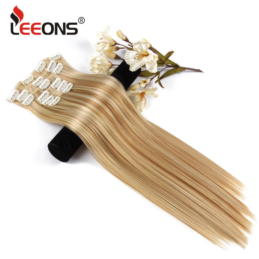 Leeons Blonde 22 Hair Extension 6Pcs/Set 16 Clips in Hairpiece Synthetic Long Straight False Hair High Tempreture 16 Colors