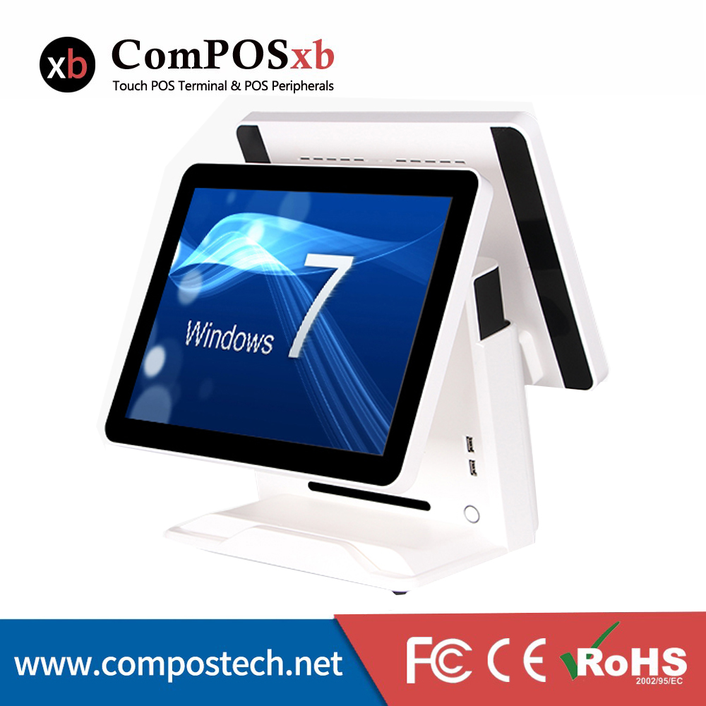 Livraison gratuite 15 pouces écran plat POS tout en un caisse enregistreuse avec deux écrans pour Restaurant POS système 2