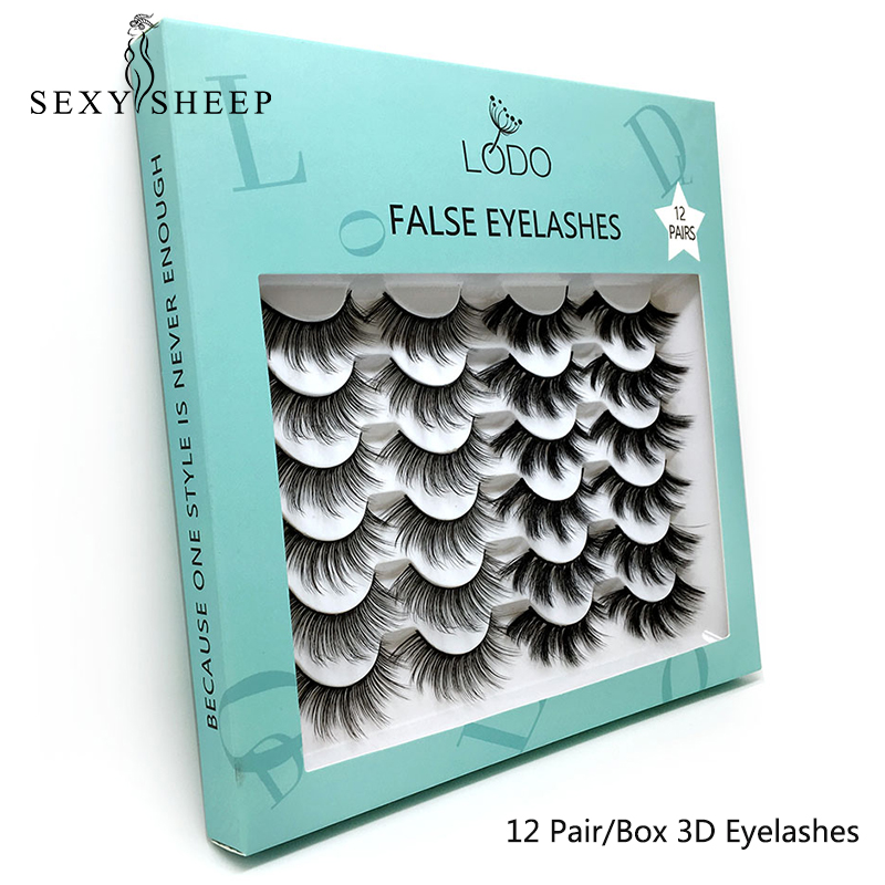 SEXYSHEEP 12pairs Faux 3D Mink Lashes Natural Long False Eyelashes Dramatic Volume Fake Lashes Makeup Extension Eyelashes