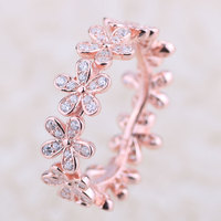 Original 100% 925 Sterling Silver jewelry Rings with cz Dazzling Daisy band Roes Gold Ring For Women DIY making Free shipping