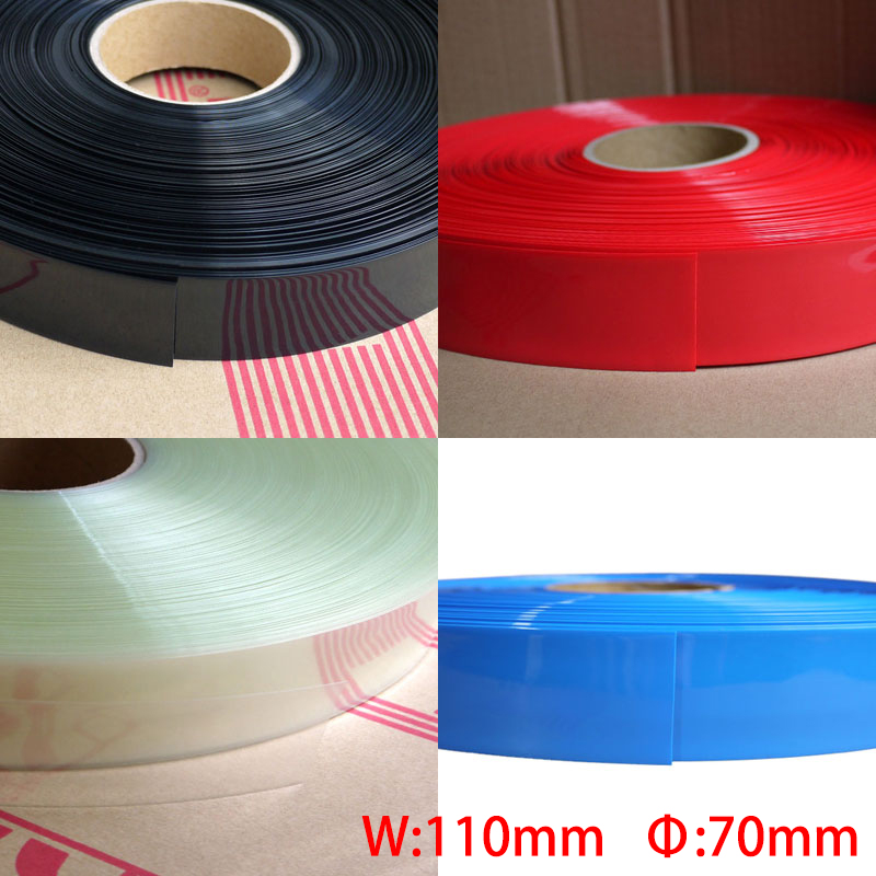 2M Blue Black Red Green 110mm Width 70mm Dia Battery Pack DIY Insulation Protect Casing PVC Heat Shrink Tubing Shrinkable Tube