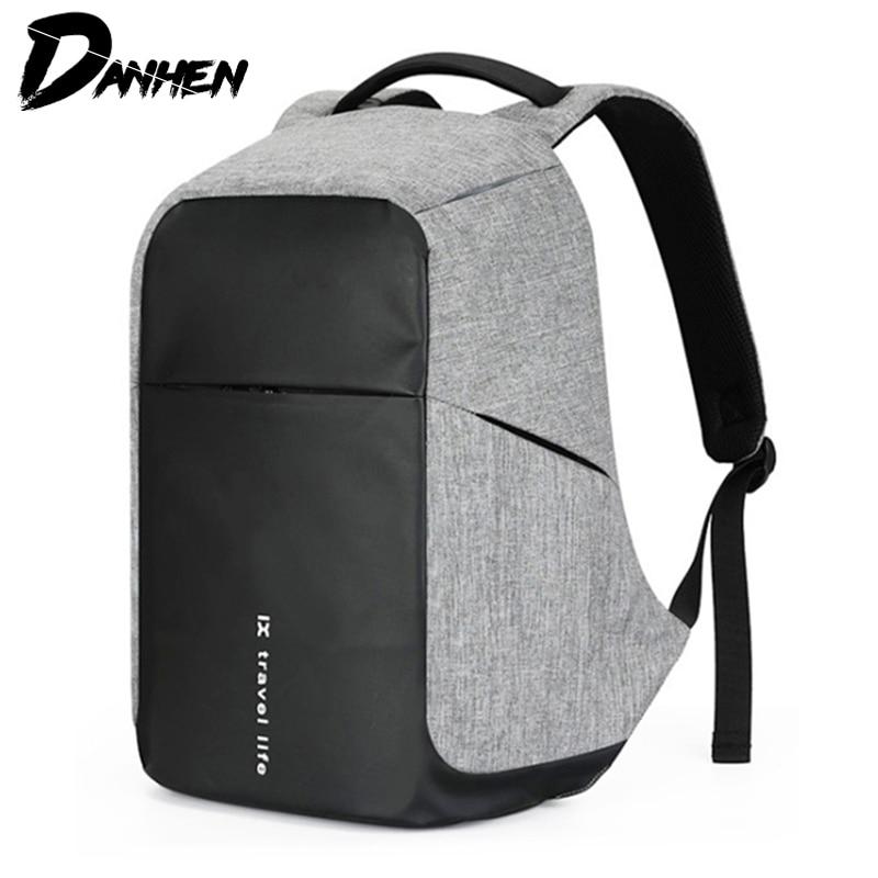 DANHEN nouveau mode homme voyage sac à dos Anti voleur hommes sac à dos pour adolescent 15 pouces sacs à dos d'ordinateur portable USB sac de Charge Mochila