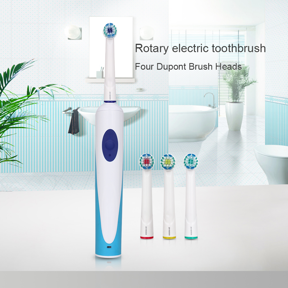 Hot Adults Rotating Electric Toothbrush Rechargeable With 4 Rotary Replacement Heads Mouthpieces Oral Cleaning Holder Case Box
