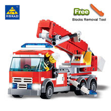 Kazi 8053 CITY Seri Blok Bangunan DIY Fire Fighting Truck Batu Bata 244 Pcs Blok Bangunan Set Mainan Pendidikan untuk Anak-anak(China)