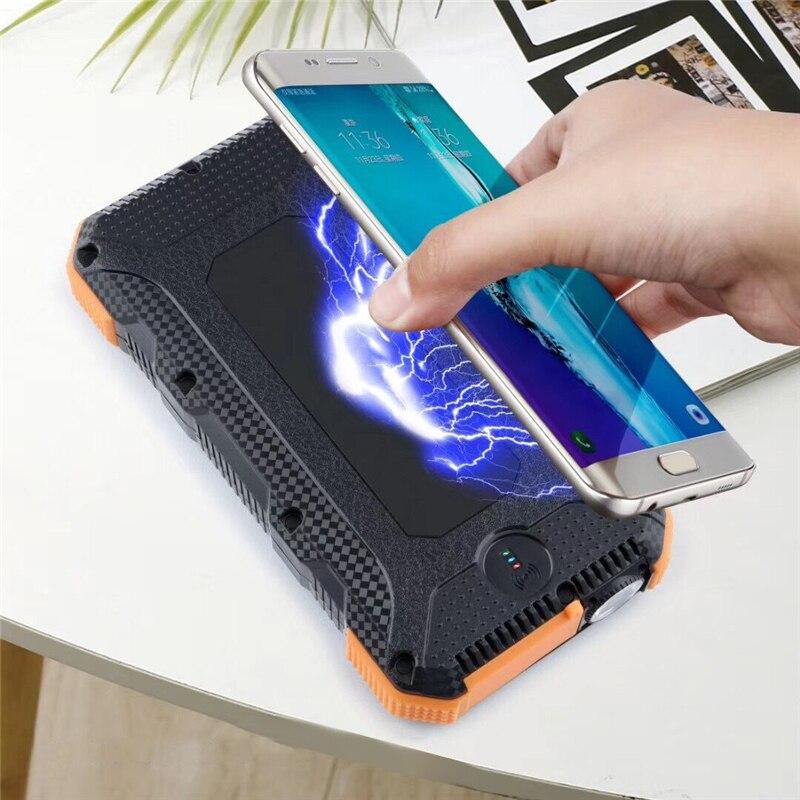 Batterie externe 30000mah QI Sans Fil Chargeur de batterie portable solaire Type C PD + QC3.0 Charge Rapide externe chargeur de batterie portable pour xiaomi