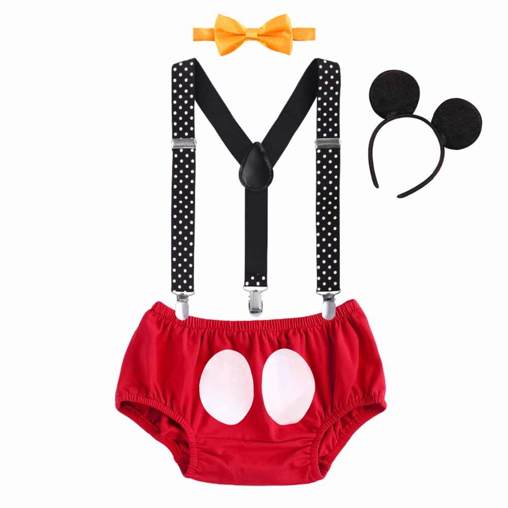 0eb1dcd6b3 ... 4pcs Set Baby Boy Girl Mickey Mouse Cake Smash Outfits 1st Birthday  Party Suspender Pants Headband ...