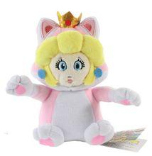 EMS 100pcs/lot 7″18cm Cat Princess Peach Plush Toys Super Mario New 3D World Stuffed Dolls Plush Fridge Magnet Free Shipping