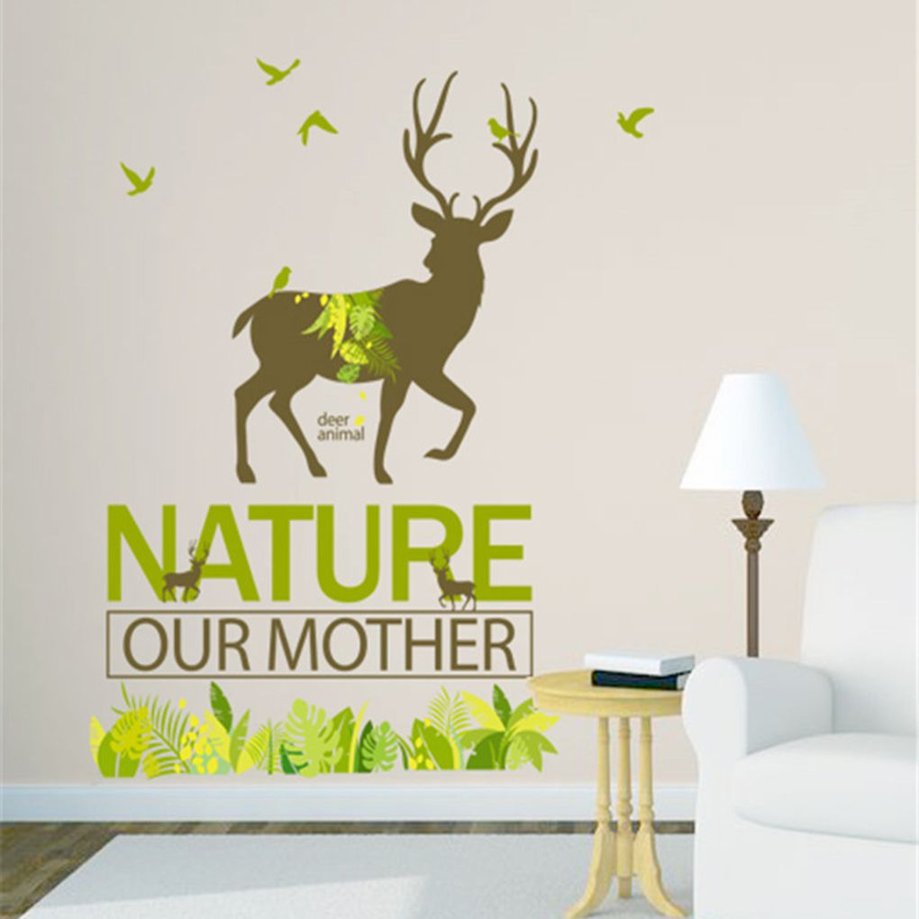 online get cheap natural wall decals aliexpresscom  alibaba group - nature forest deer wall sticker livingroom home decor posters wall decalscm(china