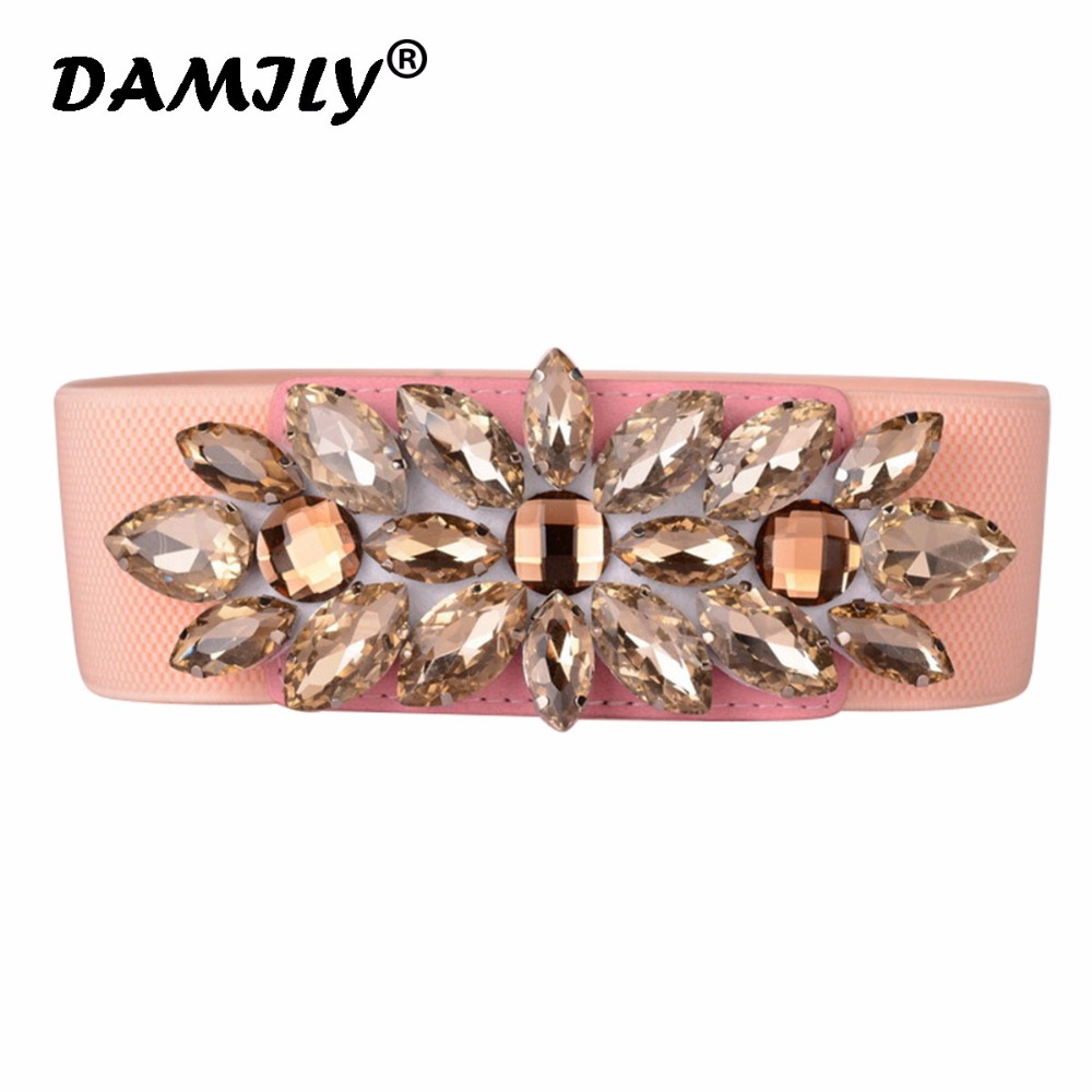 Luxury Women   Belt   Fashion Designer Cinch Waist   Belt   Rhinestone Crystal   Belts   Elastic Straps Fashion Waistband Ladies Accessories