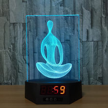 Yoga Meditation Acrylic 3D Night Light Baby LED Calendar Desk Lamp Color Change Remote control Clock Creative Kid's bedroom lamp(China)