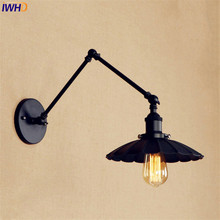 Black Retro Vintage LED Wall Light Edison Wandlamp Swing Long Arm Wall Lamp Loft Style Industrial Lighting  Luminaire Lampen iwhd swing long arm wall light up down vintage glass wall lamp led bedroom iron wandlamp home lighting edison bulb light