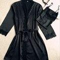 Хорошо продаются Новые Сексуальные женские шелковые кружева Халат Наборы пижамы Высокое качество крытый пижамы (халат + Ремень Спагетти) две части