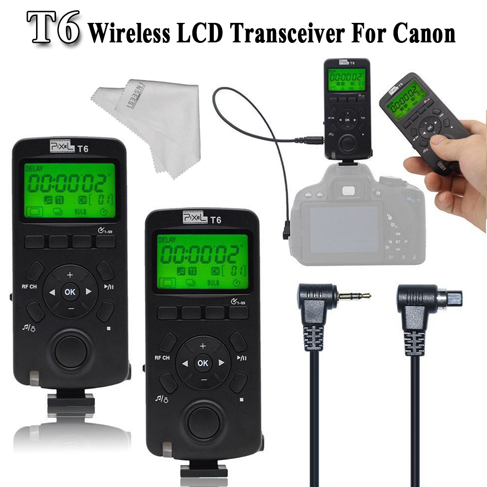 INSEESI LCD FSK 2.4GHz Transceiver Pixel T6 Wireless Timer Remote Control For Canon with N3/E3 Cable For Canon EOS VS TW-283 shutter release c3 for canon eos series camera timer remote controller