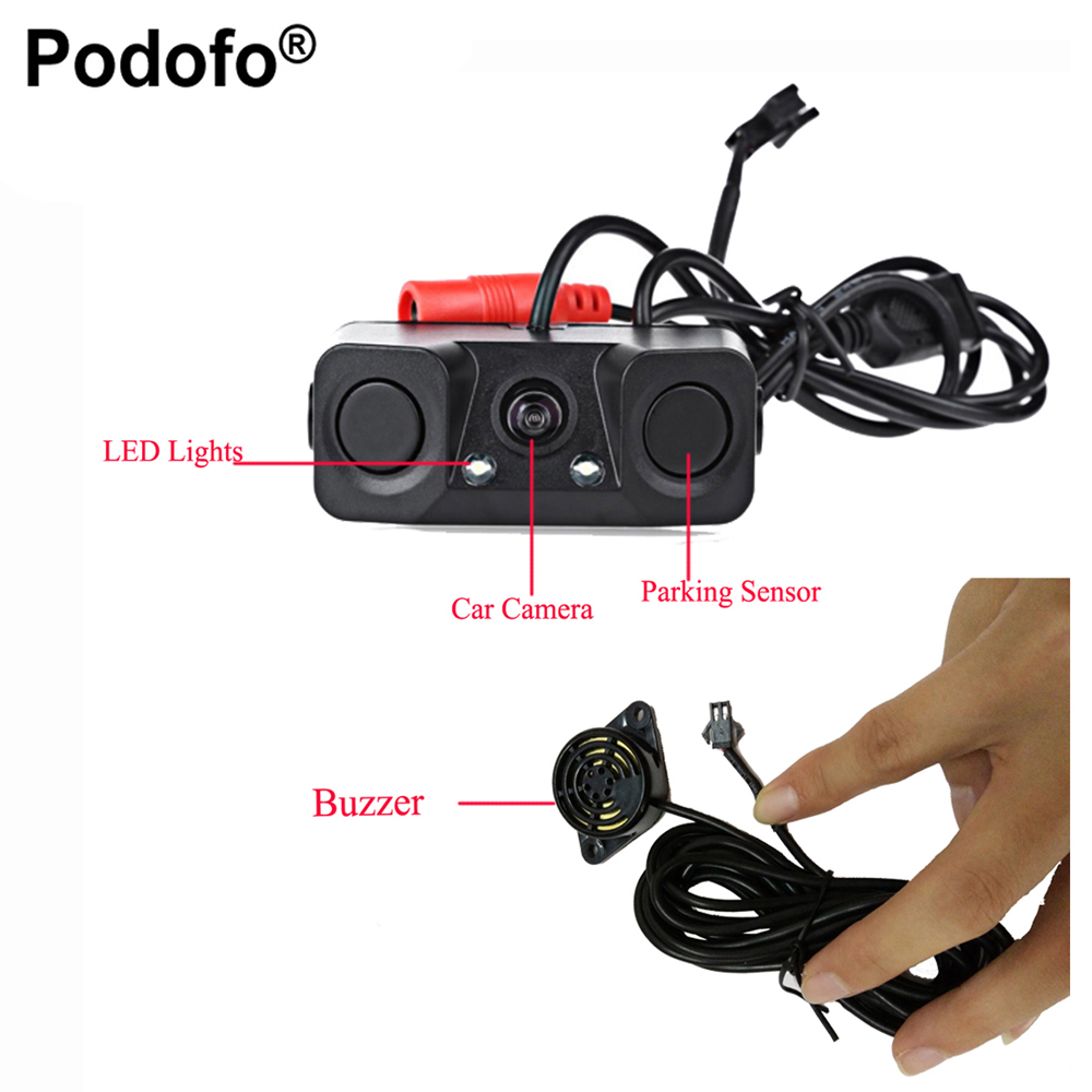 Podofo Car Rear View Reverse Radar Detectors Backup Camera With 2 Parking Sensors Night Vision Waterproof