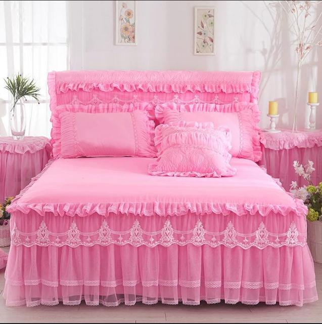 Korea Style Pink Lace Bed skirt Pillowcases 1/3pcs Bedding Romantic Princess Bedspread Bed sheet Girls Solid Color Bed Cover