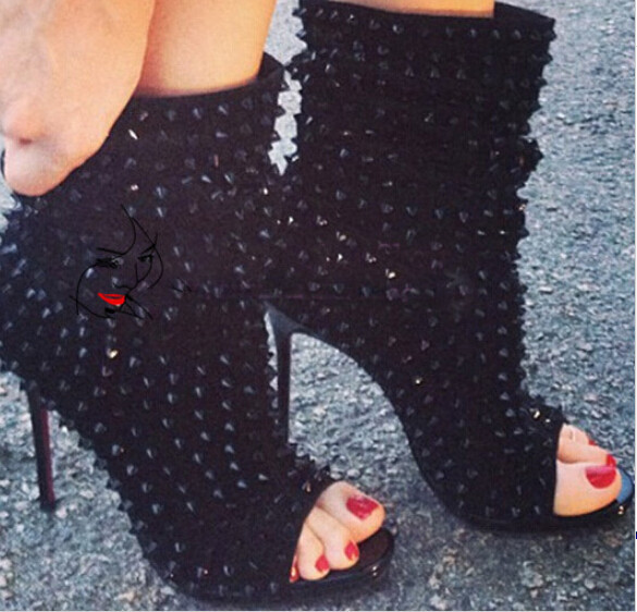 Fall Peep Toe Booties Rivets Fashion Summer Autumn High Heel Shoes Boots  Women Open Toe Sexy Spike Shoes Sandals in Party 1d0c6f4ca