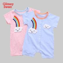 Cartoon Baby Rompers Rainbow Newborn Summer Jumpsuits Kids Short Sleeve Cotton Clothes Roupas De Bebe Infantil Baby Clothing