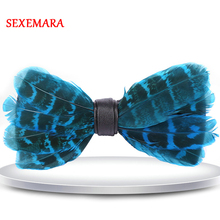 цена на Europe Style Luxury Blue Yellow Red Feather Bow Tie Mens Hand Made Adjustable Feather Bowtie With Gift Box
