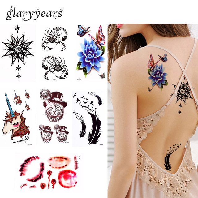 Pieces Lot Halloween Blood Decal Temporary Tattoo Body Neck Chest Waist Art Colors Cat