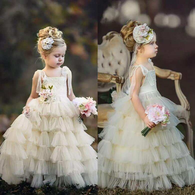 Lovely Ivory Flower Girl Dresses Tiered Tulle Pageant Gowns Floor Length First Communion Dress Custom Made Any Size lovely new puffy flower girl dresses beaded overskirts floor length first communion dress pageant birthday gown 2017 custom new