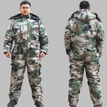 Зимние камуфляжные спортивные костюмы для мужчин, хлопковый стеганый комбинезон с капюшоном, теплые комбинезоны для холодной погоды, Рабочая защитная форма, большие размеры