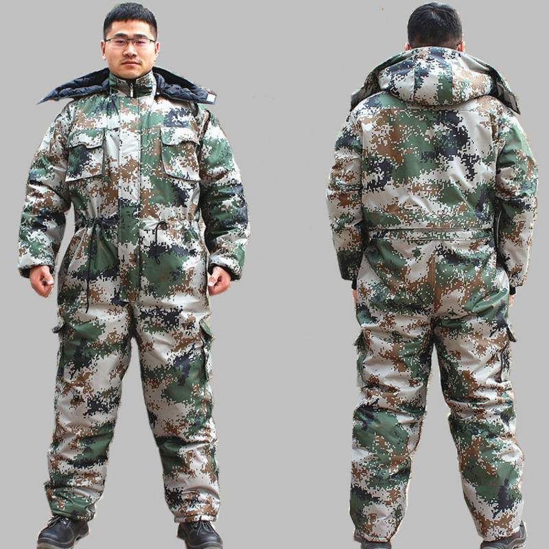 Winter Camouflage Jumpsuits Men Cotton Padded Hooded Overalls Cold Weather Thicken Coveralls Work Protective Uniforms Plus Size