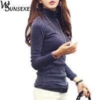 Fashion Shiny Tops Women Casual Plus Size Long Sleeve Turtleneck Basic T Shirts Autumn Winter Sexy