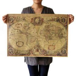 71x50 см старый карта мира матовый коричневый бумага плакат ретро Винтаж Декор