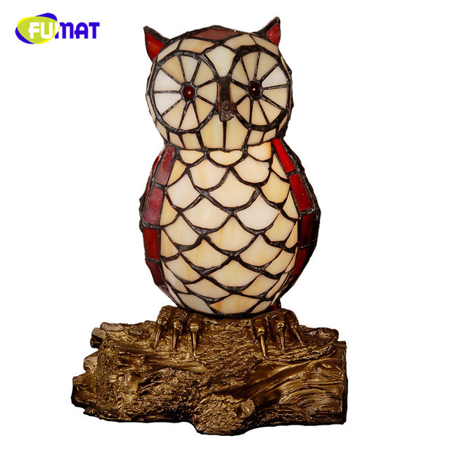 FUMAT Stained Glass Table Lamp Quality Bedside Owl Lamp Creative Gift For  Kids Home Docor Owl