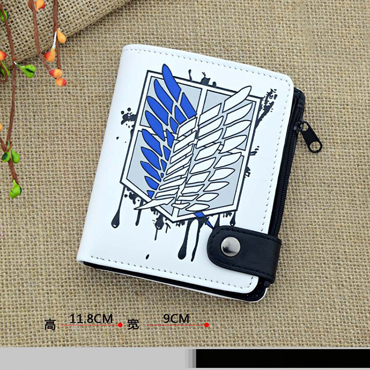 Anime Attack on Titan Cosplay Q version of the cartoon quality PU short wallet students  ...