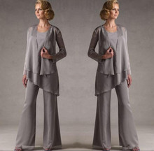 Mother Of The bride dresses 2019 Grey Chiffon Bridal Bride Pant Suits With Jacket Women Evening Robe De Mere