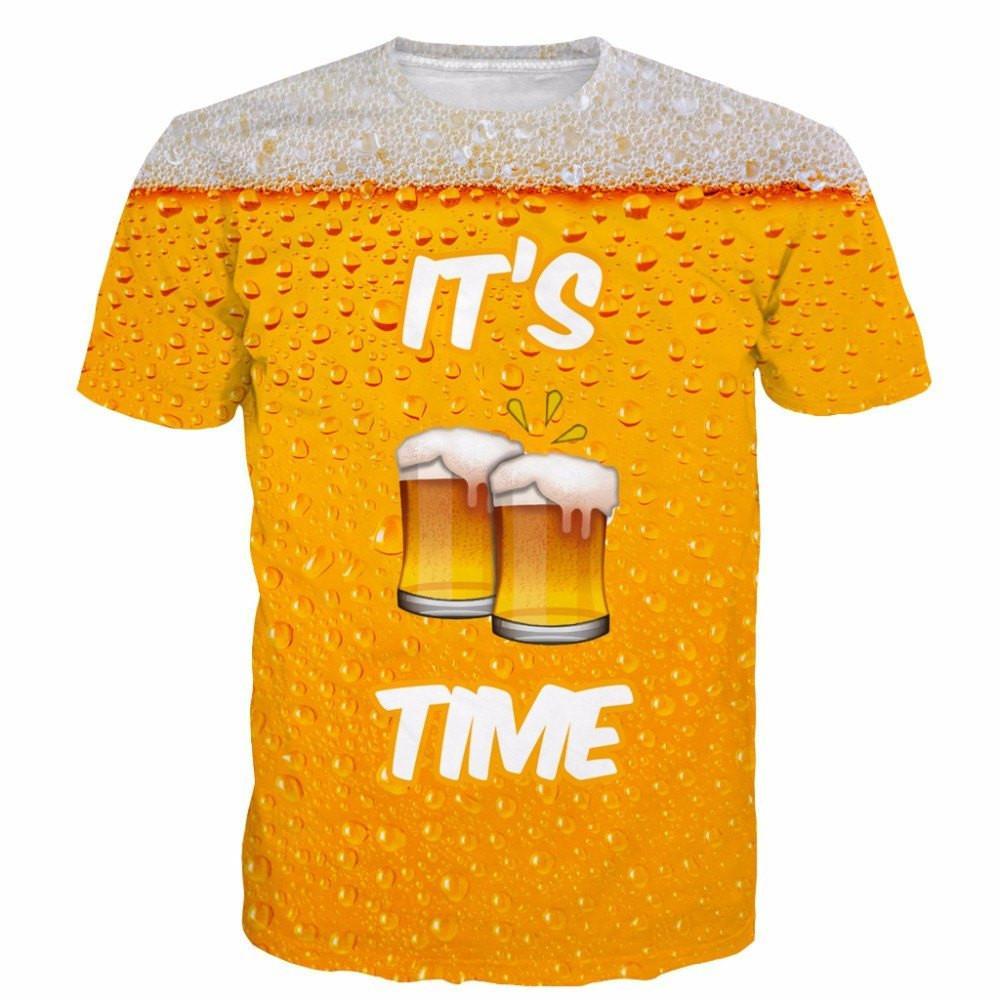 Onseme es cerveza tiempo/LEONES/poker/Eagle 3D camiseta unisex-adulto manga corta divertida T Camisas Camisetas Tees