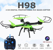 Free shipping 2016 JJRC H98 2.4GHz 4CH 6 Axis Gyro Headless Mode RC Quadcopter Drone with HD Camera One Key to Return RC Toys
