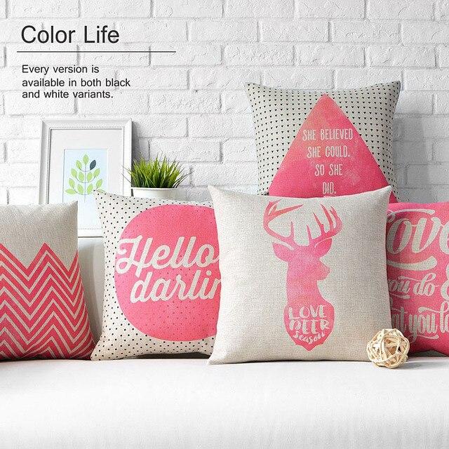 Nordic Pink Deer Home Decor Pillow Linen Cotton Cushion For ...