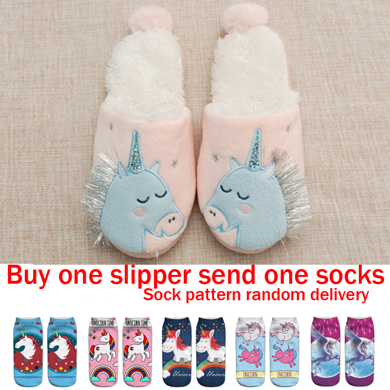 309452183e6 Unicorn Slippers Kids Flip Flops Girls Home Shoes Children Animal Plush Fur  Slippers Funny Shoes Child Winter Warm Cotton Shoes