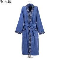 Plus Size 100 Cotton Terry Bathrobes Toweled Thickening 100 Male Cotton Sleepwear Medium Long Male Robe