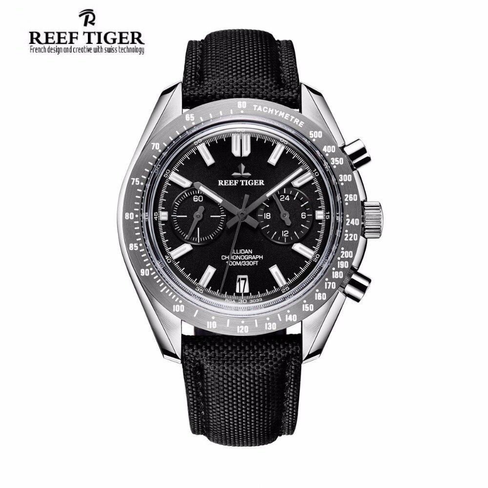 2019 New Reef Tiger RT Brand Designer Mens Watch with Chronograph Date Super Luminous Nylon Strap