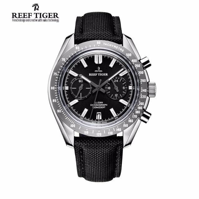Reef Tiger/RT Reloj de marca de diseñador para hombre, con cronógrafo, fecha, superluminoso, correa de nailon, RGA3033, novedad de 2020