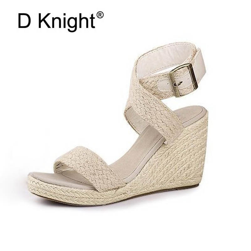 2018 Gladiator Sandals Platform Wedges Summer Creepers Casual Buckle Shoes Woman Sexy Fashion High Heels Plus Size 41 3 Colors bohemia plus size 34 41 new fashion wedges sandals slip on elastic band casual platform shoes woman summer lady shoes shallow