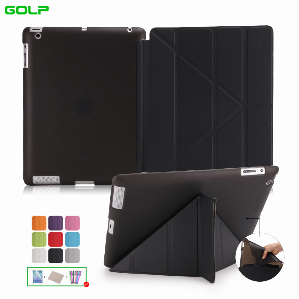 Case Covers for iPad 2 3 4 GOLP Utra Slim PU Leather Multi-folding Magentic Cover Translucent TPU Back Case for iPad 2 3 4