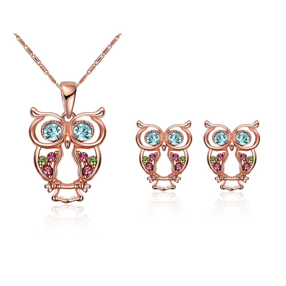 Meekcat Cute Owl Necklace Earrings Jewelry Sets Colorful Crystal Rose Gold  Color Jewelry Sparkling Jewelrys Set